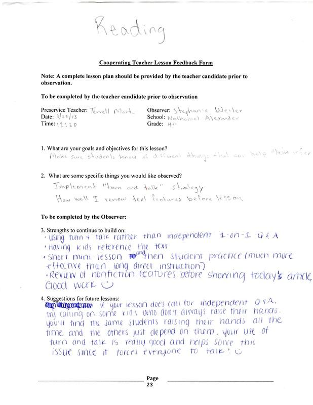 Lesson Plan Feedback Form  TerrellS Imb Portfolio